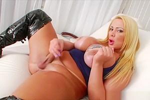 Big racks Tgirl Pamela tugs her big cock in masturbation session