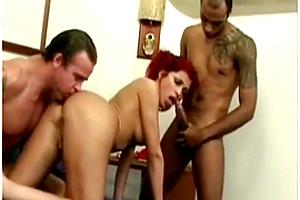 tranny Redhead latina three-some