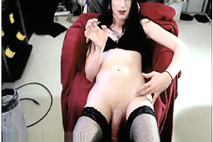 Big cock shemale strokes and cums live