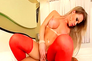 Red Lingerie Shemale Gets In Mouth
