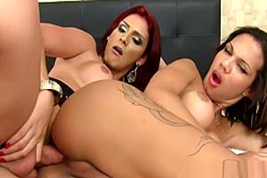 Redhead tranny fucks ass during a twosome