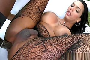 Booby tgirl in pantyhose asshole screwed