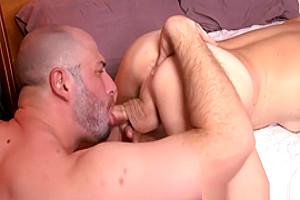 Rimmed natural tgirl enjoys husband cumshot