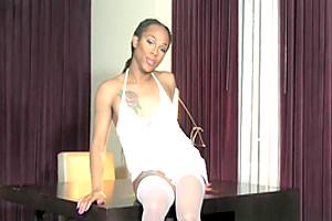 Ebony tgirl masturbating and teasing