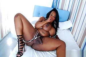 Ebony BBW Tgirl Enjoys Stroking Her Big Cock