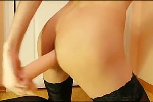 Crossdresser Take fake penis unfathomable, Take ass orgasm And Show wazoo With handjob