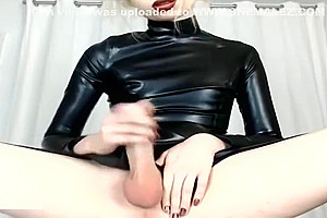 Sissy lady-man In LatexJerks Her attractive dong