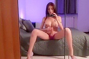 Busty tranny films herself