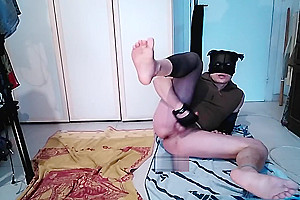 Slap myself with gym gloves, showing feet, spit and cum