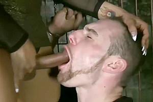 Jessy Dubai face fucks handcuffed guy