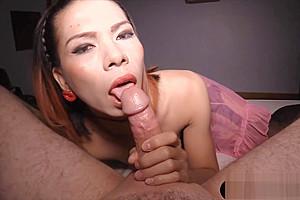 Flat chested Thai ladyboy gets bareback fucked hard