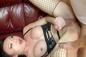 Beautiful tgirl banged in stockings