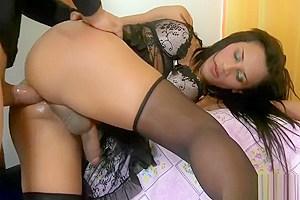 Busty tgirl Bruna Saltelly anal screwed