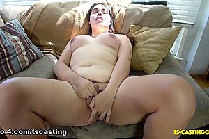 Voluptuous Satan's Slut Cums To Buddy's - TS-Casting-Couch