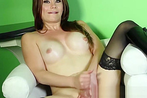 Brook Bang tranny touching her tits while masturbating