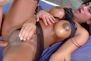 Latina tranny Jennifer Rios gets fucked hard on bareback sex