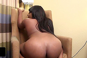 Sexy ebony ts tugging on her black cock