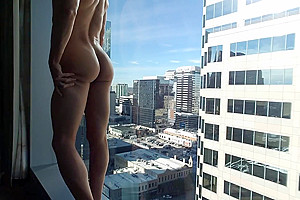 Exhibitionist Twink Fucks his Hole on High Rise Hotel Window (Part 1)