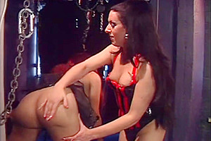 Brunette and redhead vamps twosome