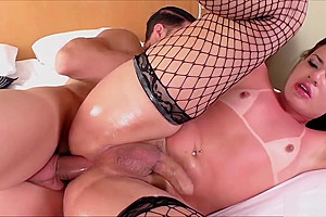 Trans temptress Lara in hot anal sex and cock sucking