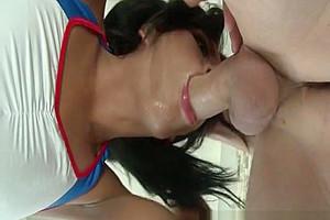 TS Natalie Foxx swallows a big cock