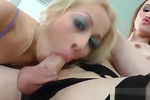 Stockings shemale enjoys her dick sucking