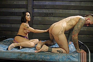 Mature bigtits TS dominating her slave