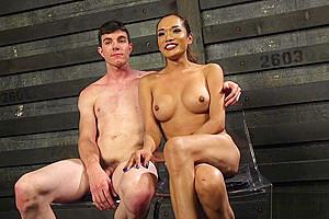 Transgender asian beauty getting rimmed