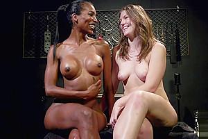 Ebony femdom gets her hard cock sucked
