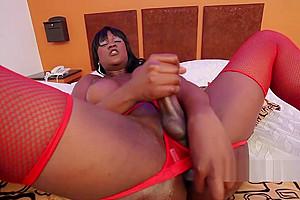 Red lingerie ebony tgirl in solo