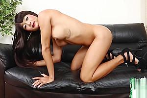 Naughty asian ladyboy fondling her cock
