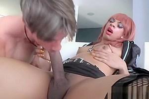 Black Shemale Sasha Strokes Fucks A Guy