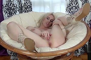 Stunning blonde post op tgirl solo