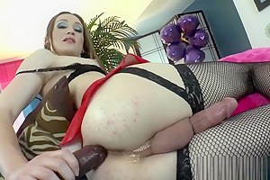 Cute Shemale Jacqueline Woods Having Fun With A Dildo