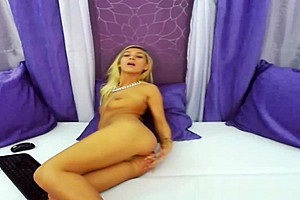 Hot Blonde Shemale with Fat Cock