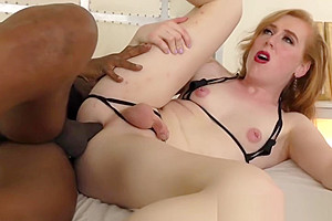White and redhead Shemale Shiri AllWood have sex with black stud