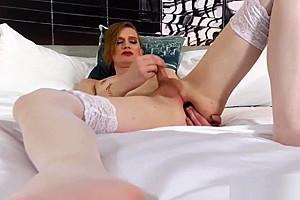 Smalltit tgirl in stockings dildoing her ass