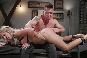 Blonde TS gets anal and cumshot