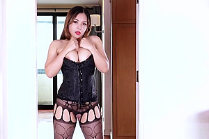 Asian ladyboy rimjob with cumshot-