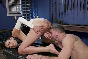 Black master dominates shemale in latex