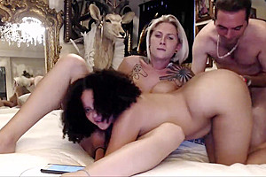 Horny couple is dedicated in pleasing their sexy shemale