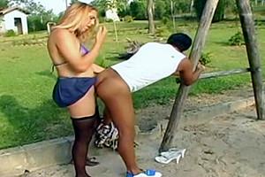Tgirl fucks her boy at the park