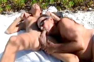 Jamie anal penetrates michelle ts at the beach!