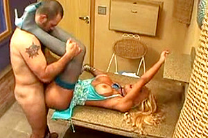 Busty blonde tranny fucks with guy