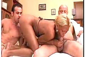 Ebony busty t-girl wallow in cum by hot threesome